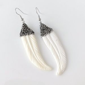 Natural carved bone feather earrings